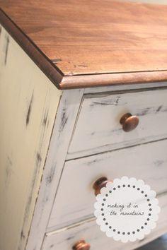 Antique Dresser Makeover with Chalk Paint - Dresser - Ideas of Dresser - Dresser Makeover @ making it in the mountains Chalk Paint Dresser, Dresser Refinish, Chalk Paint Furniture, Furniture Projects, Painted Dressers, Antique Dresser Redo, Distressed Furniture, Rustic Furniture, Diy Furniture