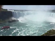 Get up close to the Horseshoe Falls on the Canadian side of Niagara Falls in Ontario. See boats like the Hornblower take people right to the base of the fall. Niagara Falls Ontario, Natural Wonders, Wonders Of The World, Things To Do, Around The Worlds, Journey, Boat, Videos, Unique