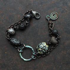 Ancient style amulet bracelet rustic spiral bracelet by solekoru