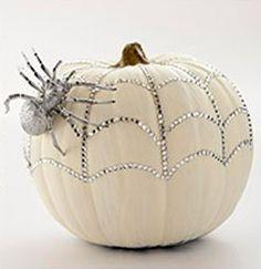 Halloween, Bedazzled Spiderweb, Spider, Pumpkin, White, Pinterest