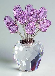 Swarovski Crystal Figurines A Dozen Pink Roses Swarovski Crystal Figurines, Swarovski Crystals, Cut Glass, Glass Art, Glass Figurines, All Things Purple, Decorative Items, Sculptures, Perfume Bottles