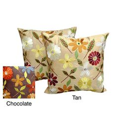 @Overstock - 'Milena' Floral Embroidered Jewel Embellished 18x18-inch Throw Pillows (Set of 2) - Pop these floral throw pillows onto your couch or bed to bring a bit of springtime beauty indoors. Available in tan and chocolate color options, the square knife-edged pillows are easy to care for and will add a little color to any decor.   http://www.overstock.com/Home-Garden/Milena-Floral-Embroidered-Jewel-Embellished-18x18-inch-Throw-Pillows-Set-of-2/7710776/product.html?CID=214117 $32.99