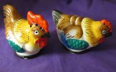 Chickens Hen Rooster Salt Pepper Shakers Japan Vintage Bright Colors   eBay