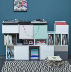 Cubit modular shelving system – for your growing library and music collection – express yourshelf! Modular Bookshelves, Modular Shelving, Sound Room, Moving Home, Regal Design, Vinyl Record Storage, Shelf Design, Home Living Room, Storage Spaces