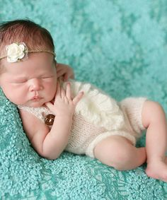 Look at this #zulilyfind! Ivory Ruffle Romper & Tie-Back Headband - Infant #zulilyfinds