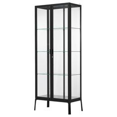 MILSBO Glass-door cabinet - anthracite - IKEA