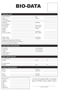 Collection Of Biodata Form Format For Job Application Free
