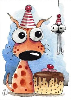 ACEO Original watercolor art painting whimsical spotty dog spider party hats #IllustrationArt