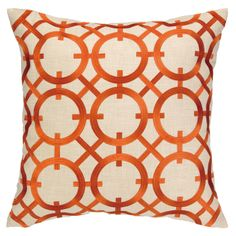 DL Rhein Parisian Lights Orange Embroidered Pillow