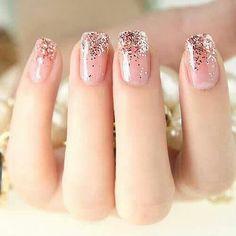 Pretty pink ombre glitter nails