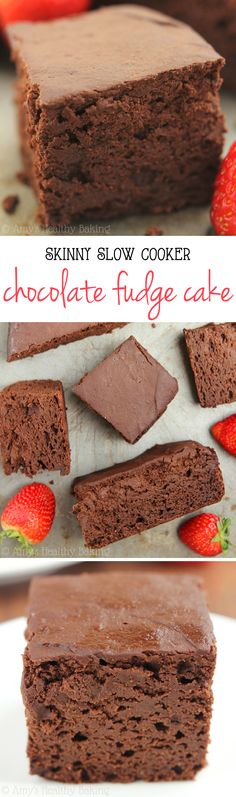 Skinny Slow Cooker Chocolate Fudge Cake — I'm SO obsessed! So easy, super rich … Skinny Slow Cooker Chocolate Fudge Cake — I'm SO obsessed! So easy, super rich & just 150 calories! Healthy Cake Recipes, Healthy Baking, Baking Recipes, Delicious Desserts, Dessert Recipes, Healthy Snacks, Baking Desserts, Diet Snacks, Baking Ideas