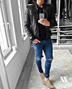 Look by ______________________________ Check out : Urban Fashion, Men's Fashion, Fashion Outfits, Fashion Boots, Street Fashion, Stylish Men, Men Casual, Moda Formal, Mode Man