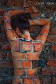 """Never blend in to the environment. ☮ American Hippie Music Art ~ """"Just Another Brick In the Wall"""" - Photography by Kristijan Antolovic, 2009 - Body painting by Matea Mazur - Model: Mirzana, Osijek, Croatia Conceptual Photography, Creative Photography, Body Art Photography, Photography Women, Arte Peculiar, Graffiti, Brick In The Wall, Brick Wall, Photoshop"""