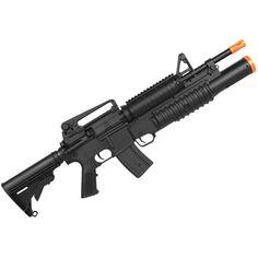 """Rifle Airsoft Elétrico Bivolt/Spring M4A1 Shotgun Lança Granada - Preto Ref.:DWG-0010-006-01  Rifle Airsoft Elétrico Bivolt/Spring M4A1 Shotgun Lança Granada . Essa é uma Airsoft denominada """"Dual Power"""" e faz jus ao nome pois tem como principal característica seus dois Airsoft, Rifle, Granada, Guns, Spring, Firearms, Knives, Gifts, Military Guns"""