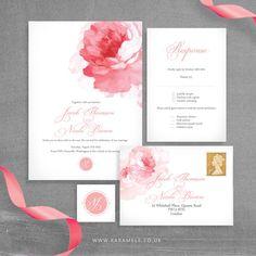 Painted Peony Wedding Invitation and RSVP postcard by KarameleShop