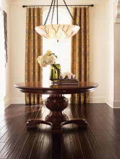 Dark hardwood flooring in this main room.