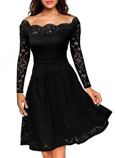 online shopping for ASCHOEN Women's Vintage Floral Off Shoulder Lace Long Sleeve Boat Neck Cocktail Formal Swing Dress from top store. See new offer for ASCHOEN Women's Vintage Floral Off Shoulder Lace Long Sleeve Boat Neck Cocktail Formal Swing Dress Lace Party Dresses, Elegant Dresses, Day Dresses, Evening Dresses, Prom Dresses, Formal Dresses, Dress Party, Party Wear, Strapless Dress