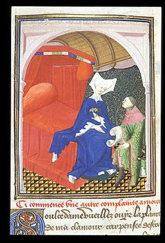 "Man kneeling before a woman on a red bed. From Christine de Pizan, BL Harley MS 4431 fol. 56v: ""The Book of the Queen"" (various works), c. 1410-14 (France - Paris), made for Isabeau of Bavaria, Queen of France. Probably presented to her as a New Year's gift, Jan 1414. Later owned by John, Duke of Bedford; his wife, Jacquetta of Luxembourg; her son by her 2nd husband, Anthony Woodville, 2nd Earl Rivers; Louis de Gruthuyse; Henry Cavendish, 2nd duke of Newcastle."