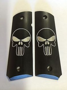 Aluminum 1911 Punisher Grips Black Anodized  Colt Kimber Grip O-rings included!!