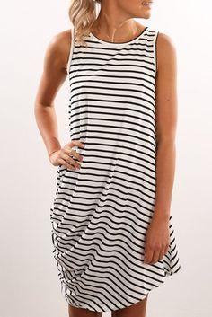 Fii Tank Dress White Stripe