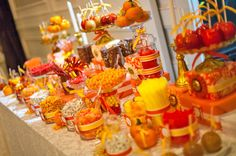 How to Set Up a Fall Wedding Candy Buffet Table. 9 Creative Examples: Harvest to Elegant to Colorful Fall Candy Stations for Weddings. Wedding Reception Favors, Candy Bar Wedding, Fall Wedding Cakes, Wedding Catering, Autumn Wedding, Reception Ideas, Wedding Ideas, Thanksgiving Wedding, October Wedding