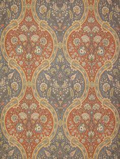 "Stark Fabric - Old World Weavers ""Verbana"" Terra Cotta/Peacock"