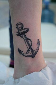 Wolf Tattoos Men, Leg Tattoos, Tattoos For Guys, Tatoos, Anchor Tattoo Ankle, Anchor Tattoos, Anker Tattoo, Mini Tattoos, Small Tattoos