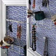 Venishka's Patterned Jewelry Frames - use picture frame, wallpaper or scrapbook paper,  and drawer pulls
