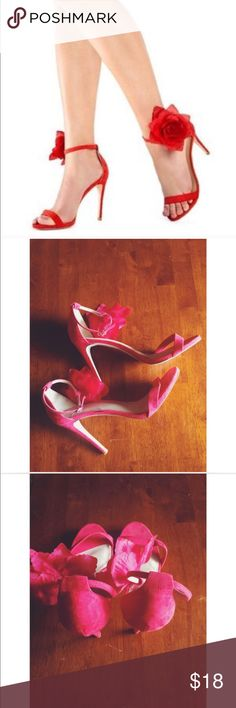JUST FAB HEELS Red heels with detachable flower. Worn once. Excellent condition. JustFab Shoes Heels