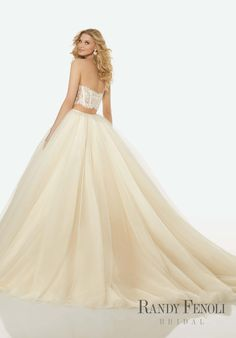 Randy Fenoli Bridal, Jillian Wedding Dress | Style 3422. Two-Piece Gown with Crystal Beaded, Sweetheart, Sheer Lace, Boned Corset Top and Full, Gathered Sparkling Tulle Ball Gown Skirt.