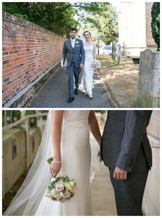 bride and groom walking, bride and groom holding hands at bishops stortford wedding, relaxed wedding photography by Rebecca Prigmore Photography