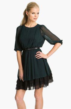 Pleated Chiffon Blouson Dress