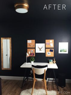 One Room Challenge Week 2 of 6-Update: Black, white, gold office makeover on Petite Modern Life