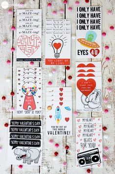 I just love silly Valentine's cards....the cornier the better! :-)  FREE PRINTABLES.