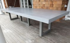 Custom Concrete Kitchen & Dining Tables 42x96 top with triple pedestal metal base. Package $1800 with custom powder coat and pigment and gloss
