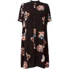 Vila Floral Print Shirt Dress ($50) ❤ liked on Polyvore featuring dresses, black, women, floral pattern dress, short sleeve floral dress, loose fitting dresses, flower pattern dress and long shirt dress