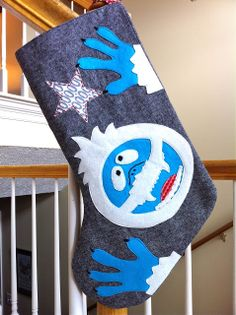 a little gray: Abominable Snowman Stocking Tutorial with free pattern pieces for the appliques