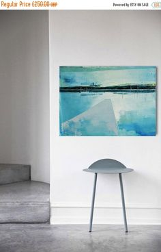 Abstract painting Lake 17. Oil painting on cotton by INKAARTSHOP