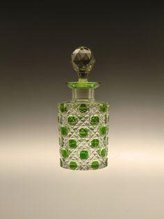 Bohemian Czech Art Deco Glass Perfume Bottle Green Cut to Clear by VintageRetroEu on Etsy