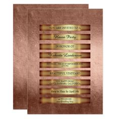 Minimal Luxury Gold Stripes Pink Rose Blush Metall 13 Cm X 18 Cm Invitation Card