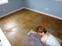 acrylic berhavita Live on Your Floors! Don't cover them with carpet or tile! Acid staining is a DIY Basement Remodel Diy, Basement Renovations, Home Remodeling, Basement Flooring, Diy Flooring, Basement Carpet, Basement Walls, Basement Ideas, Basement Waterproofing