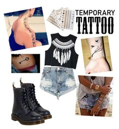"""tattoo"" by benny-2199 on Polyvore featuring beauty, Flash Tattoos, One Teaspoon, Dr. Martens, WithChic and temporarytattoo"