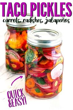 Check out these taqueria style pickled carrots and jalapeños that are easy to make and don't require traditional canning techniques! Easy refrigerator pickles for your tacos! Fermentation Recipes, Canning Recipes, Pickeling Recipes, Dinner Recipes, Canning Tips, Cooker Recipes, Radish Recipes, Vegetable Recipes, Spicy Pickle Recipes
