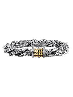 Dot Gold & Silver Triple Twist Chain Bracelet by John Hardy at Gilt