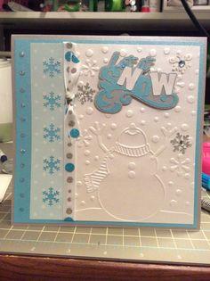 Handmade Christmas card.  #LetItSnow #embossedcard #christmasgreetingcard