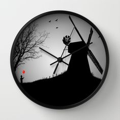 The+Abandoned+Windmill+Wall+Clock+by+Boy+With+A+Red+Balloon+-+$30.00