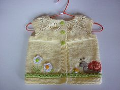 Knitting pattern for baby cardigan.Pattern baby vest.Knitted girl cardigan,knit baby yellow vest.Size 3-6m