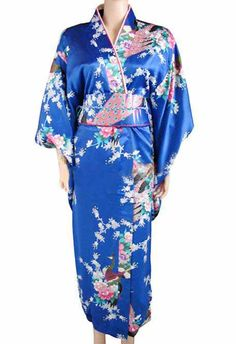 Promotion Blue Female Sexy Silk Kimono Japanese Style Vintage Yukata With Obi Evening Dress Wholesale And Retail One size Price history. Category: Novelty & Special Use. Subcategory: World Apparel. Kimono Yukata, Blue Kimono, Silk Kimono, Kimono Dress, Floral Kimono, Gown Dress, Traditional Kimono, Traditional Outfits, Traditional Japanese