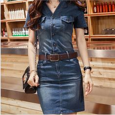 BOYS&MEN Fashion Women Casual V Neck Jeans Dress Knee Length Vintage Denim Elegant Vestidos