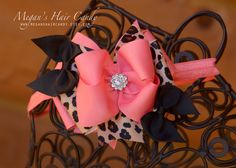 Pink and leopard hair bow https://www.etsy.com/listing/263593918/leopard-and-coral-pink-boutique-hair-bow